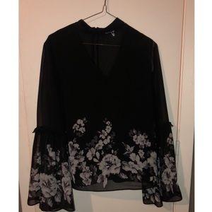 Sheer black/white floral blouse